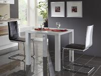 Stůl Portland, vysoký bílý lesk, 80x80 cm