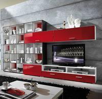 Obývací kombinace LINEA 9 (8-díl.), bílá/ červená