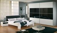 Ložnice Juwel alpin bílá s černým sklem