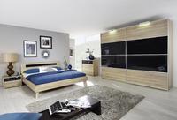 Ložnice JUWEL Sonoma dub/ bazalt šedé sklo