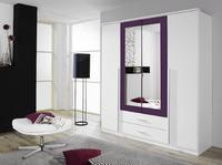 Satní skříň Krefeld 4-dveřová se zrcadlem + 2 šuplíky, alpinbila/ ostruzina