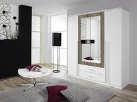 Satní skříň Krefeld 4-dveřová se zrcadlem + 2 šuplíky, alpin bílá/ Havanna dub