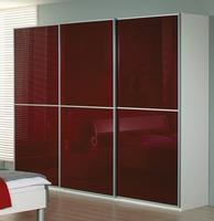 Šatní skříň s posuvnými dveřmi Linea alpin bílá/ sklo bordaux, š.315/v.235