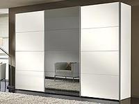 Šatní skříň s posuvnými dveřmi FOUR YOU hliník-polar bílá se šedým zrcadlem