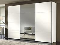Šatní skříň s posuvnými dveřmi FOUR YOU hliník-polar bílá se zrcadlem