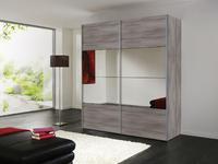Šatní skříň s posuvnými dveřmi FOUR YOU,  stříbrný dub/ zrcadlo