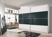 Šatní skříň s posuvnými dveřmi Juwel B alpin bílá s černým sklem