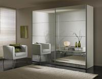Šatní skříň s posuvnými dveřmi FOUR YOU polar bílá /zrcadlo š.200/v.216 cm