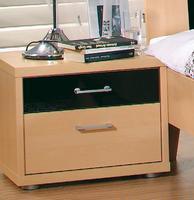 Noční stolek Plus-2, 2 šuplíky, přírodní buk/ černé sklo