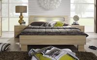 Futonová postel Plus-2 přírodní buk, čelo postele s mléčným sklem a osvětlením