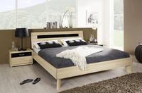 Futonová postel Plus-2 přírodní buk, čelo postele se skleněnou deskou v bazalt šedé barvě