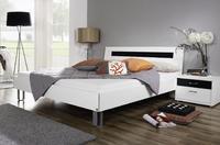 Futonová postel Plus-2 alpin bílá, čelo postele se skleněnou deskou v černé barvě