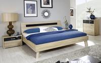 Futonová postel Plus-2 Sonoma dub, čelo postele se skleněnou deskou v bazalt šedé barvě