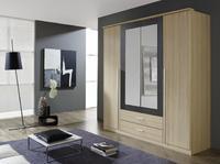 Satní skříň Krefeld 4-dveřová se zrcadlem + 2 šuplíky, přírodní buk/ šedá metalíza