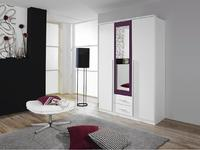 Satní skříň Krefeld 3-dveřová se zrcadlem + 2 šuplíky, alpin bílá/ ostružina