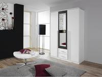 Satní skříň Krefeld 3-dveřová se zrcadlem + 2 šuplíky, alpin bílá/ šedá metalíza