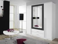 Satní skříň Krefeld 4-dveřová se zrcadlem + 2 šuplíky, alpin bílá/ šedá metalíza