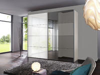Šatní skříň s posuvnými dveřmi FOUR YOU bílý lak / zrcadlo, š.300/v.216