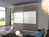 Šatní skříň s posuvnými dveřmi FOUR YOU stříbrný dub/bílý lak