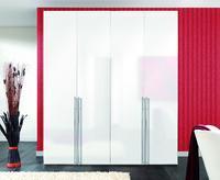 Šatní skříň BROOKLYN 4dveřová, polární bílá/ bílý lak