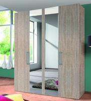 Šatní skříň BROOKLYN 4dveřová se zrcadlem, Sonoma dub
