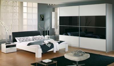 Ložnice Juwel alpin bílá s černým sklem - 1