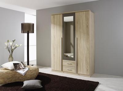 Satní skříň Krefeld 3-dveřová se zrcadlem + 2 šuplíky, Sonoma dub/ lava šedá