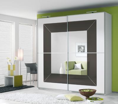 Šatní skříň s posuvnými dveřmi Focus alpin bílá s bazaltovým sklem - 1