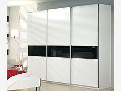 Šatní skříň s posuvnými dveřmi Linea alpin bílá/černé sklo, š.226/v.223