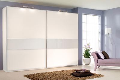 Šatní skříň s posuvnými dveřmi Savoy alpin bílá/ krystalově bílé sklo - 1