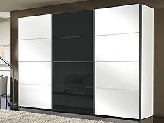 Šatní skříň s posuvnými dveřmi FOUR YOU grafit-polar bílá s černým sklem