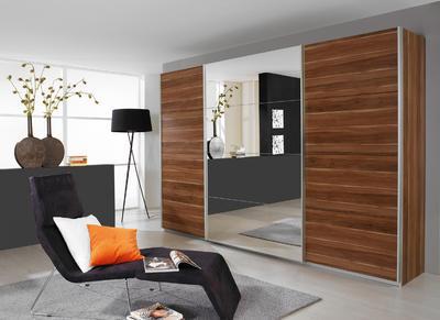 Šatní skříň s posuvnými dveřmi Relation dekor jádrový ořech/ zrcadlo, š.136 cm