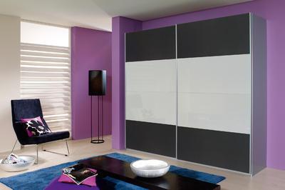 Šatní skříň s posuvnými dveřmi Relation kartáčovaný hliník/dekor šedý kov a bílé sklo