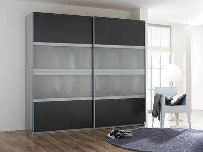 Šatní skříň s posuvnými dveřmi Relation kartáčovaný hliník/dekor šedý kov a mléčné sklo