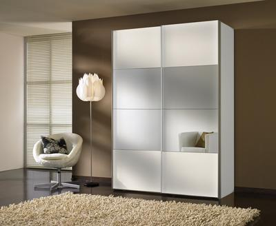 Šatní skříň s posuvnými dveřmi FOUR YOU,  polar bílá/ zrcadlo