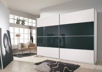 Šatní skříň s posuvnými dveřmi Juwel B alpin bílá s černým sklem - 1
