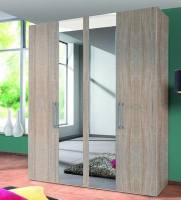 Šatní skříň BROOKLYN 4dveřová se zrcadlem, Sonoma dub - 1