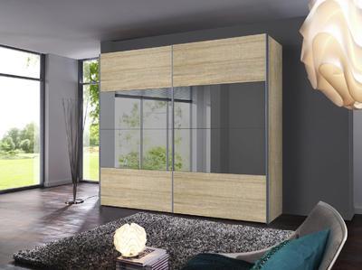 Skříň s posuvnými dveřmi FOUR YOU Sonoma dub/ šedé zrcadlo - 2