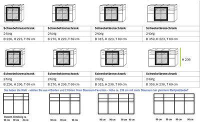 Šatní skříň s posuvnými dveřmi Focus alpin bílá s bazaltovým sklem - 3
