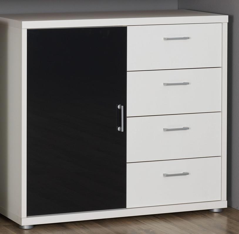 RAUCH Komoda Plus-2 alpin bílá/ černé sklo, 4 šuplíky + 1 dveře