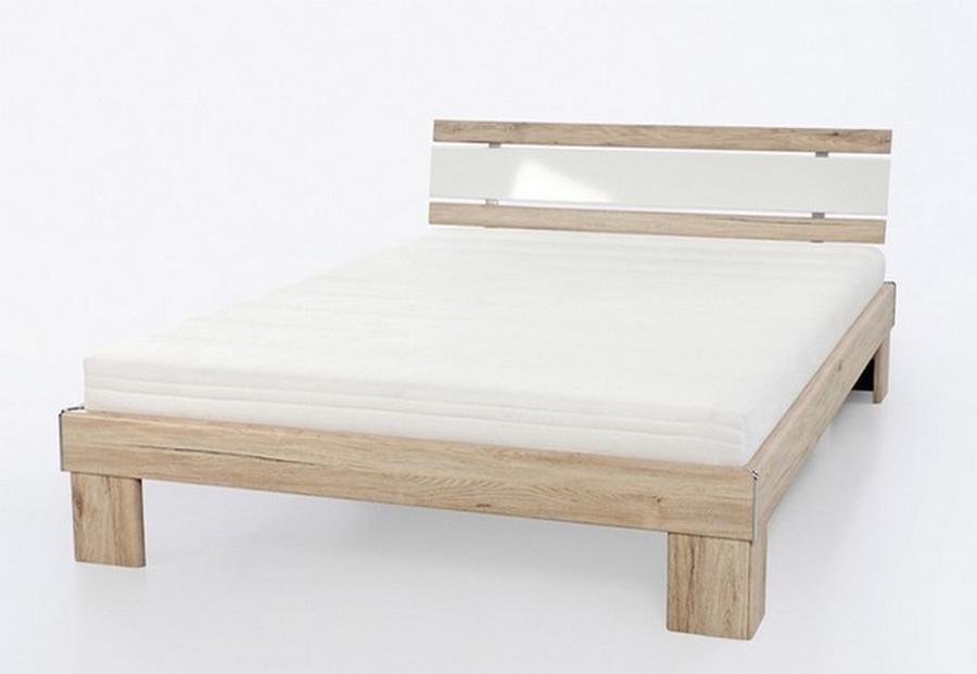 LIVING Futonová postel Radius 140x200 cm vč. matrací a roštů, Sanremo dub/ bílý lesk